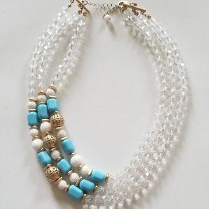 Triple blue, white & gold necklace .
